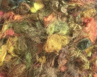 Silk Throwsters Waste, Silk Filament Waste, Hand Dyed Mulberry Silk Waste Fibre, Colour No.15 Sludgy Green