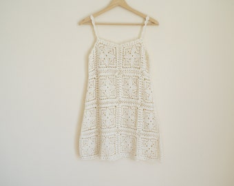 Vintage 1970s Crochet Dress / Handmade Crochet Dress