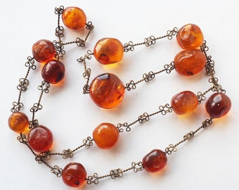 Beautiful hand made genuine Baltic amber and brass necklace