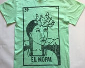 Size Unisex SMALL, El Nopal - Loteria (Mexican Bingo) Design, Mint Green T-Shirt, Ready-to-Ship