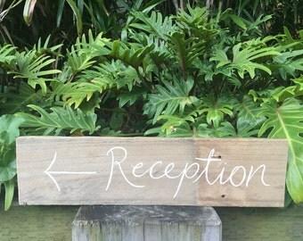 Rustic Timber Wedding Reception Sign {Script Font}