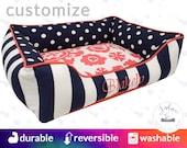 Polka Dot Dog Bed with Navy & Coral    Suzani, Polka Dot, Stripe   Choose Your Design