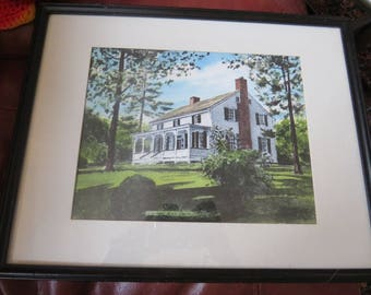 A Gray's Watercolor--handpainted in Currier and Ives tradition--Cherry Hill Farm, Virginia - framed watercolor of Cherry Hill Farm