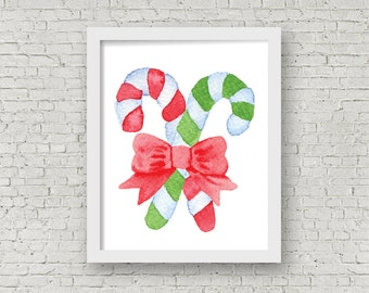 Watercolor Candy Cane Christmas Print Cookie Frosting Green Red  Christmas Decor Wall Art Instant Download Digital Print