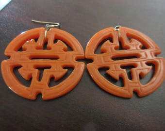 Big Orange Lucite Earrings