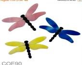 Spring Sale Bullseye COE 90 DRAGONFLIES CHOICE Precut Fusible Glass Blue/Salmon/Yellow