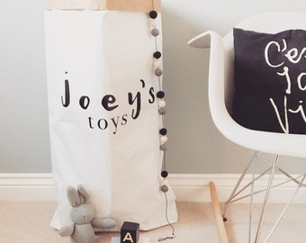 Personalised scandi style paper toy sack