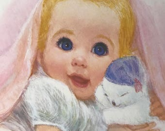 Vintage 1960s American Beauty Series Frances Hook Northern Tissue Baby Print Nursery Decor