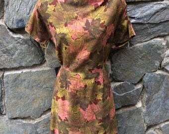 1960's Leaf Print Fit and Flare dress with zipper back and side closures