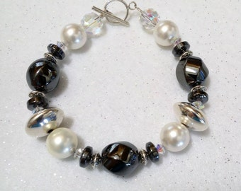 BRACELET Natural HEMATITE STERLING Beads with Gold Clasp