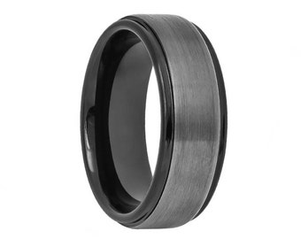 Tungsten Wedding Band,Gun Metal,Two Tone,Black Wedding Band, Black Tungsten,Mens Wedding Band,Engraving,Brushed,Mens Ring,Mans,Rings