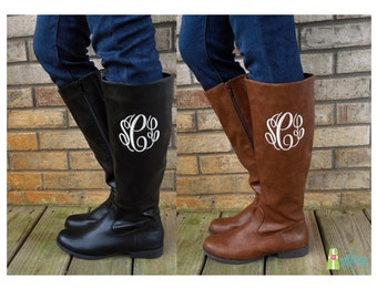 Monogrammed Boots, Personalized Women's Tall Boots, Brooklyn Boots, Zipper Boots, Monogram Boots, Boots with Initials, Monogrammed Shoes