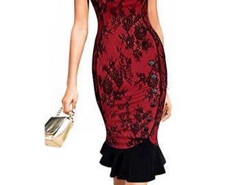 Petite red and black lace pencil dress