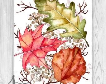Fall Leaves Sign, Autumn Leaves Art Print, Watercolor Fall Leaves Art Print, Autumn Decor, Thanksgiving Decor, Fall ART Print or Canvas