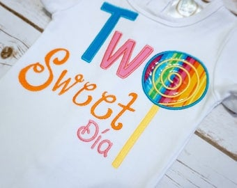 Girls rainbow lollipop shirt candy party shirt two sweet shirt sweet shoppe party