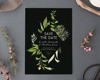 Printable Woodland Save the Date Card, Botanical Forest Wedding Save the Date, Nature Green Leaves, Outdoor Natural Invite, Garden Fern