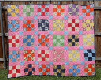 Pink Nine-Patch Vintage Quilt - Finished for Modern Use