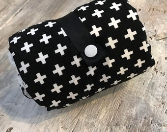 washable changing mat, Changing pad, white cross on black