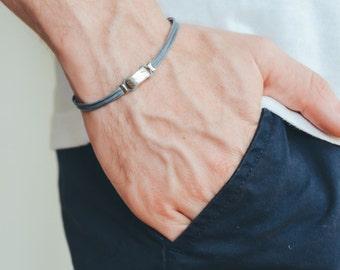 Gray bracelet for men, men's bracelet with a silver square bead, men's jewelry, friendship bracelet, gray bracelet, gift for him, minimslist