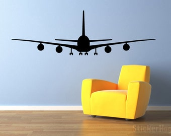 "Airliner Airplane Wall Decal Front View 60""x19"" Vinyl Wall Decal Graphics"