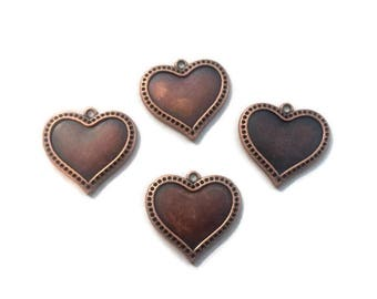 Heart copper plated jewelry charms