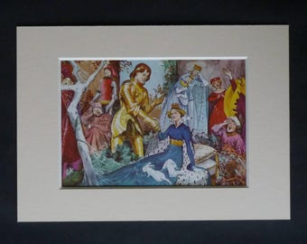1960s Vintage Sleeping Beauty Print, Available Framed, Fairytale Art, Childrens Story Picture Fairy Tale Gift for Child Colorful Nursery Art