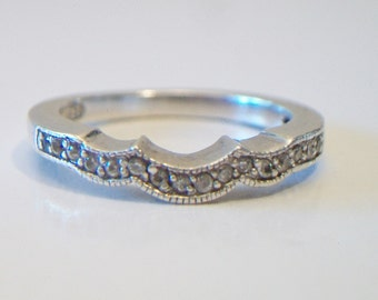 Vintage Sterling Silver Curved Wedding Band Size 7 Anniversary Ring .925 Jewelry