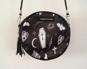 Gothic Alternative Black Round Handbag - Bat Ouija Skull Bag Clutch Horror