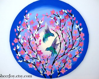 cherry blossom art, cherry blossom painting, cherry blossom paintings, painting with cherry blossom,  small painting, birds, 20""