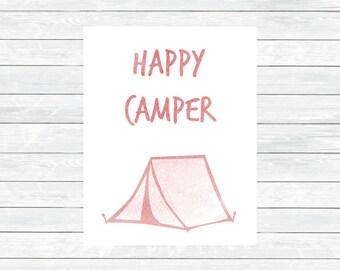 Happy Camper Print - Happy Camper Decor - Kids Room Print - Camper Wall art - Nursery printable wall art - Nursery Decor - Digital download