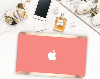 Guava Coral and Rose Gold Edge Hybrid Hard Case for Apple Mac Air & Mac Retina , New Macbook 2016 - Platinum Edition