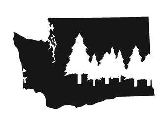 Medium Washington Evergreen State Vinyl Decal- 5.5in by 3.5in