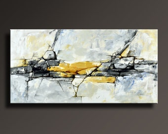 ORIGINAL ABSTRACT Painting Black White Yellow Gray Blue Contemporary Abstract Modern Canvas Art 48x24 Wall Decor - Unstretched - ABF09i3