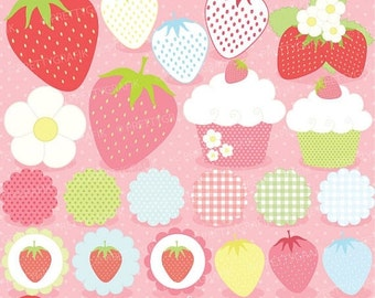 80% OFF SALE 21 summer strawberry clipart commercial use, vector graphics, digital clip art, digital images - CL505