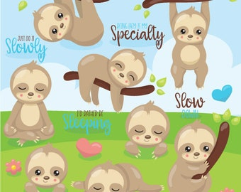 80% OFF SALE Sloth clipart commercial use, easter bunny vector graphics, easter digital clip art, digital images  - CL1077