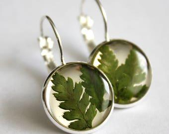 Fern earrings, nature earrings, botanical earrings, green earrings, made in Canada