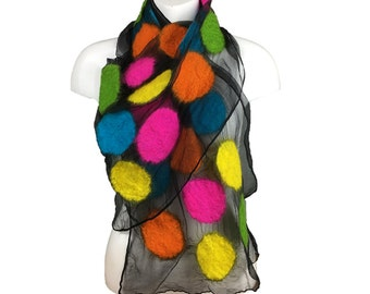 Neon bright merino wool on silk nuno felted scarf