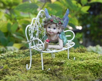 Fairy Garden Fairy Figurine with ladybug, laying down fairies, fairy furniture accessories, Miniature white wire bench mini accessory