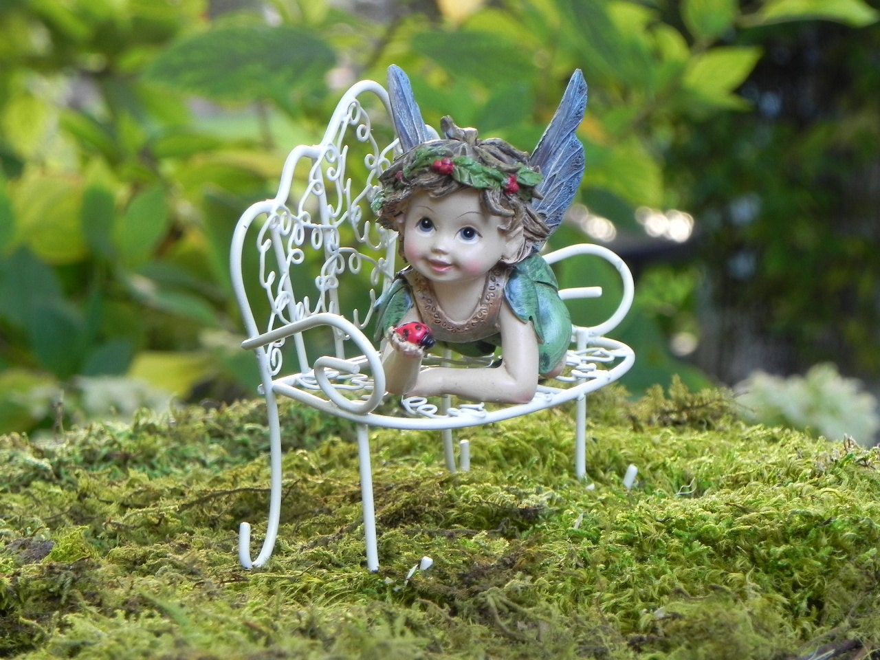 Fairy garden fairy figurine with ladybug miniature bench for Fairy garden figurines