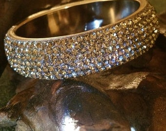 Stunning Vintage 50s Glitzy Pave  Rhinestones Bangle Bracelet