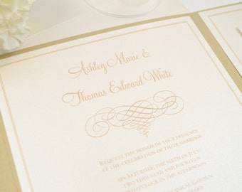 SALE! Gold and Ivory Wedding Invitation, Pocketfold, Romantic, Traditional, Script, Classy, Rustic, Simple, Elegant Scroll Design, Sample