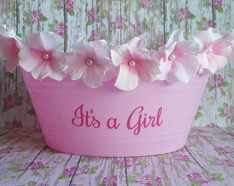 It's a Girl, Baby shower gift, basket, Bucket, Personalized