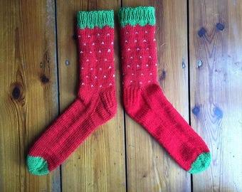 Hand knit strawberry socks