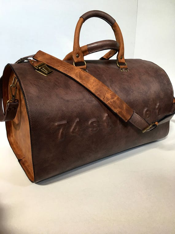 Free Shipping Duffel Bag, Rusty Brown Travel Bag, Sports Bag, Leather Weekender Bag, Leather Bag
