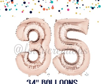 35th Birthday ROSE GOLD Number Balloons | 35th birthday decorations | 35th birthday for her | 35th Birthday Rose GOLD Balloon Banner