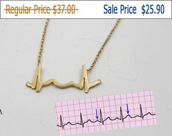 30% OFF -  Actual heartbeat necklace, cardiogram necklace, baby heartbeat necklace, sterling silver plated with 24K yellow gold