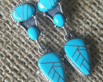 Turquoise and Silver Dangle Earrings (st-1883)