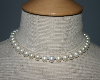 FRESHWATER PEARL CHOKER Necklace...Wedding Pearl Necklace
