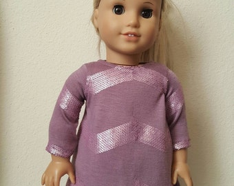 Purple Sequin Chevron Trapeze a dress for 18 inch dolls by The Glam Doll