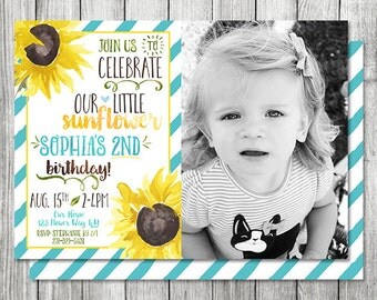 Photo Sunflower Birthday Invite - Fall Birthday Invite - 5x7 JPG (Front and Back Design)